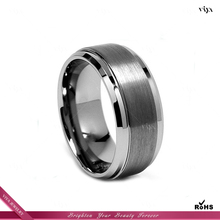 High Quality 8mm Men/Womens Black Brush Center Tungsten Carbide Promise Ring Wedding Band RIng Manufacturer Factory