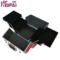 Hardshell Retractable Handle Metal Frame PU Rolling Professional Make Up Case