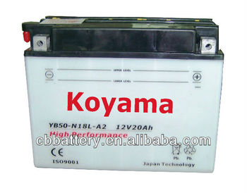 Excellent conventional motor batteryYB50-N18L-A2(20Ah12V) Activated Sealed motorcycle battery
