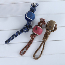 Handmade Pet Dog Rope Chew Toys with a Tennis Ball for Small Dog