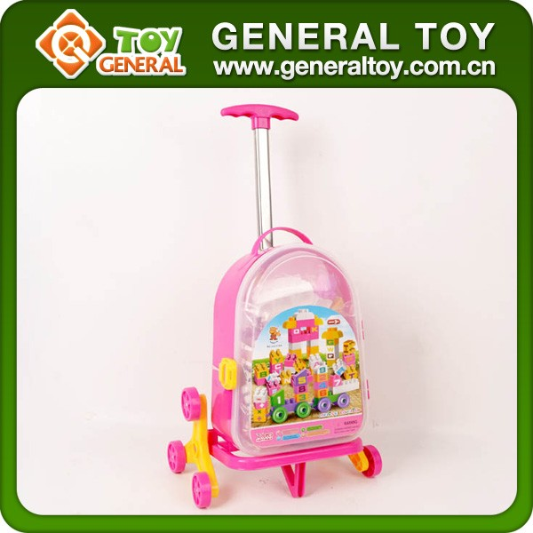 Promotion Plastic Luggage 4 Wheels Kids Travel Trolley Bag With Building block