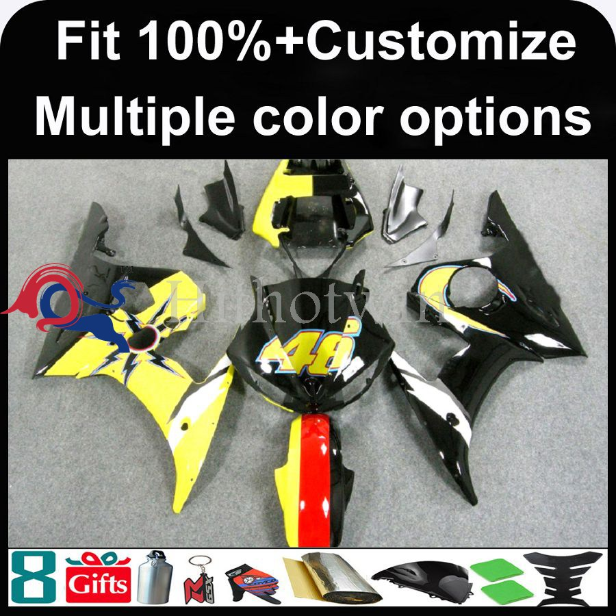 For yamaha R6S 2006 2007 2008 2009 For yamaha YZF R6 03 04 05 yellow black YZFR6 2003 2004 2005 Bodywork INJECTION MOLD Fairing