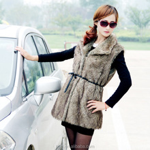 Hot Womens Rabbit Fur Long Vests with Raccoon Fur Collar Real Knitted Fur Hooded Gilet / Waistcoat with Pockets