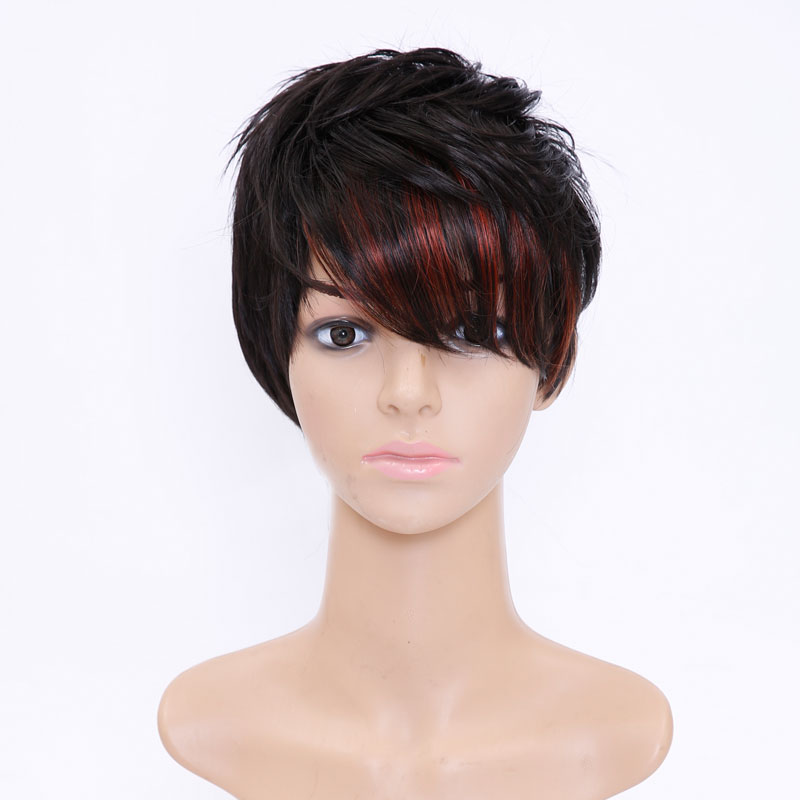 SHANGKE Hair Short Synthetic Wigs For Women Highlight Women's Wig Heat Resistant Female Fake Hair Wigs Free Shipping