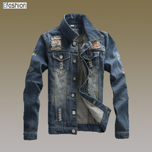 Guangzhou custom men distressed denim jackets wholesale jeans jackets men
