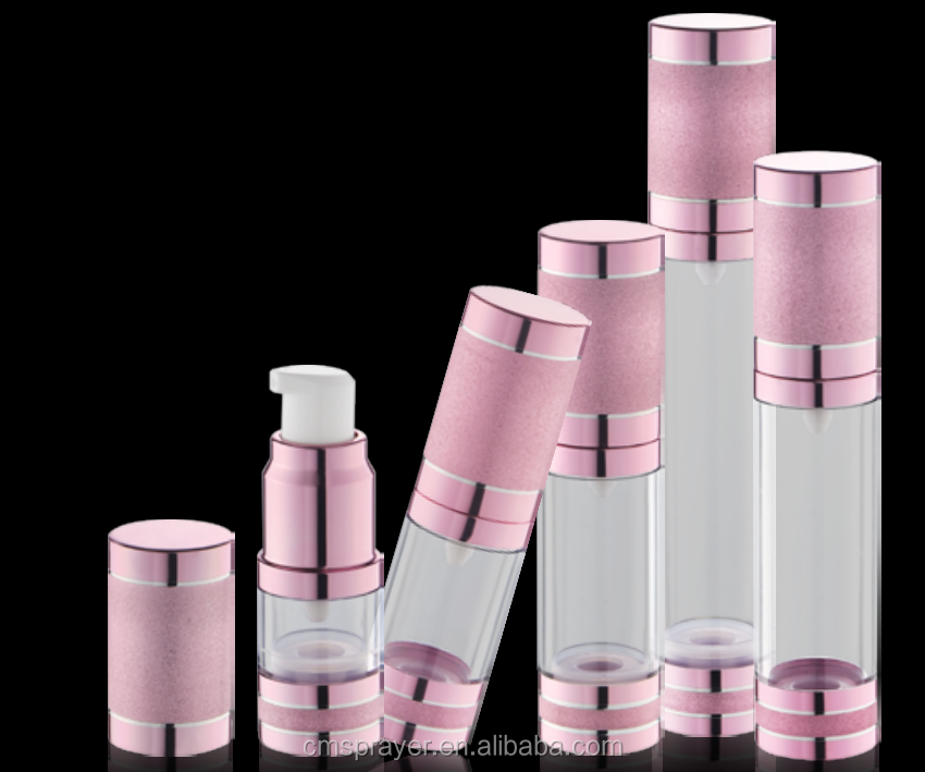 50ml airless bottle with shinning aluminum collar