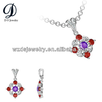 925 Sterling Silver Fantastic Flower Fashion Pendants Ruby and Amethyst Cubic Zirconia for Jewelry Necklace