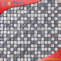 Grey Waving Glass Mosaic Mix Frosted Glass and Flower Art Pattern Resin Tiles (KS58)