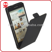 High Quality Black Leather Cover case for Huawei Phones P6 Flipcover