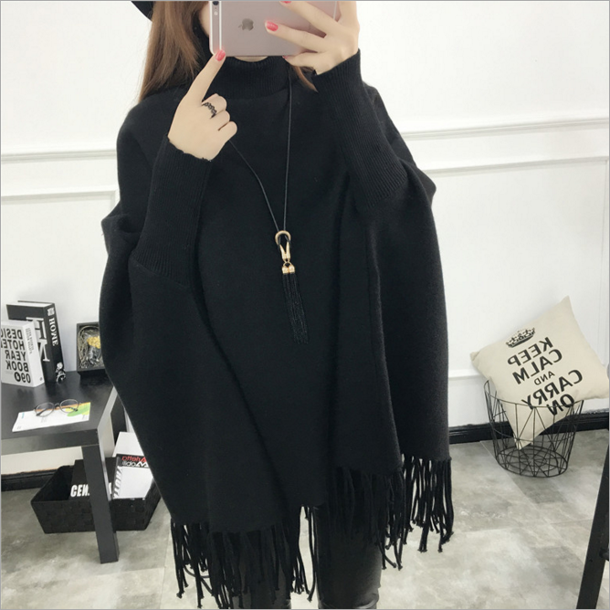 2017New fashion loose fringed long sleeve sweater