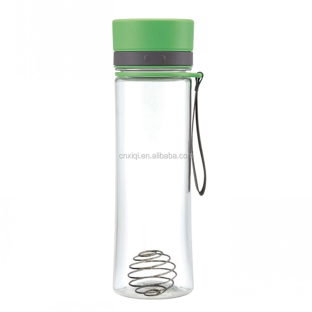 Custom Plastic Fitness club shaker bottles with Mixer with wire whisk mixer ball