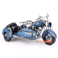0407C Large metal three-wheeled motorcycle models Blue