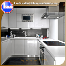 China made high glossy white lacquer kitchen cabinet simple design