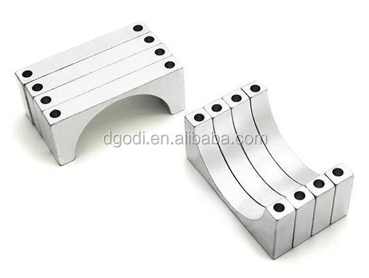 Silver Anodized CNC Machined Double Sided 25mm Aluminum Tube Clamp
