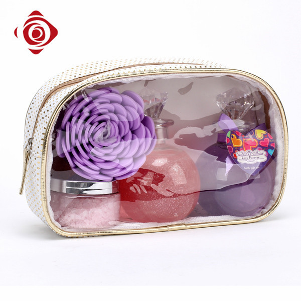Portable personalized cosmetic travel pouch clear plastic makeup bag