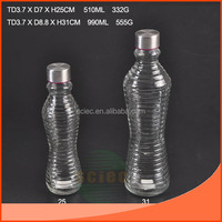 Glass bottles in two different specifications of silk mouth with metal lid