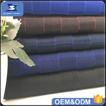 2017 Fashion Polyester TR Men's suit Fabric Mens Woven Check Suiting Fabric Manufacturer