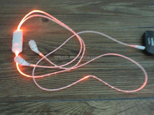 plug in earphone jack accessory, stereo glowing earphone for iphone mp3