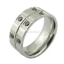fashion style 316L stainless steel jewelry zircon ring for man