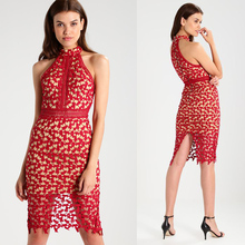 Ladies Fashion Clothing Red Crocheted Midi Lace Dress
