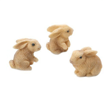 Fairy Garden Minis Decoration Resin Mini Rabbits Figurine with 3 pieces