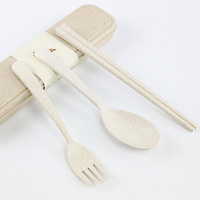 eco friendly biodegradable wheat fiber cutlery set spoon fork chosptick