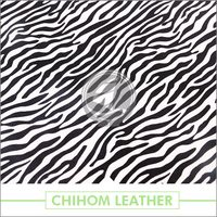 2016 fashion zebra print eco-friendly pu leather for garment and shoes