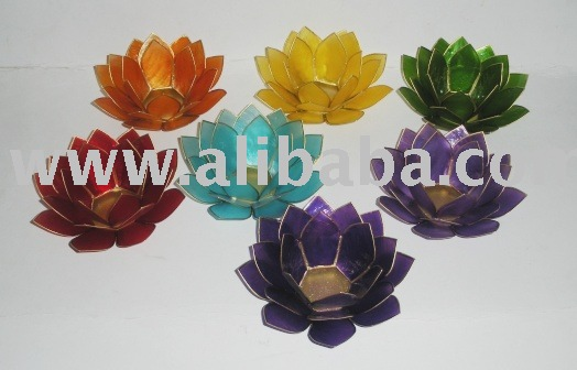 Capiz Lotus Votive Holder for Meditation (in CHAKRA Colors)