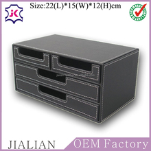 4 small drawer black faux leather office desk organizer, Multi-functional stationery box