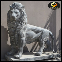 Walking lion marble garden statue