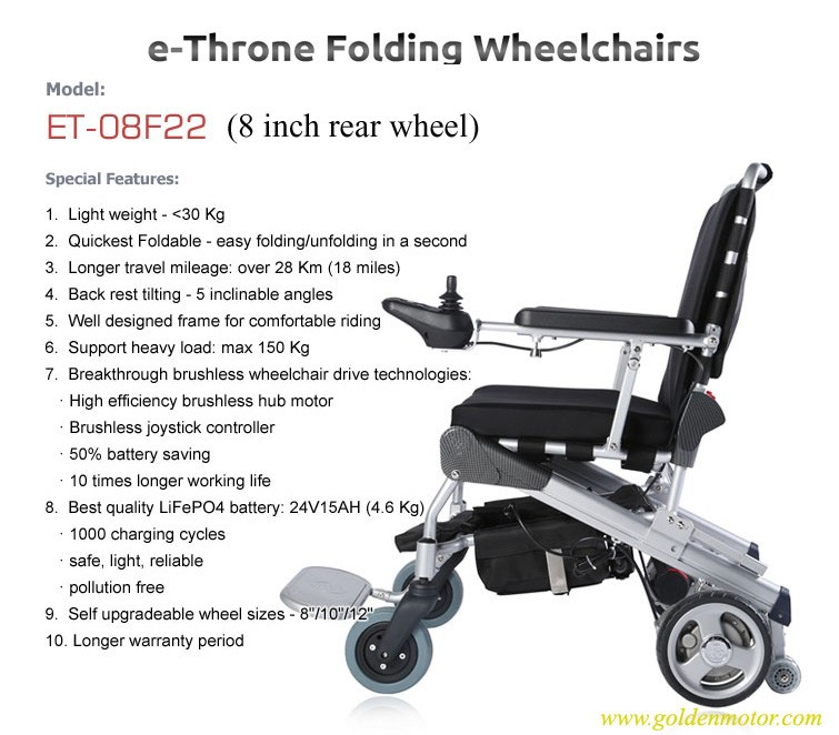 e-Throne! New Innovative design 8'' folding / foldable power electric wheelchair CE/FDA approved, best in the world