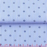 James new developed blue check and stripe stars poplin printed fabric