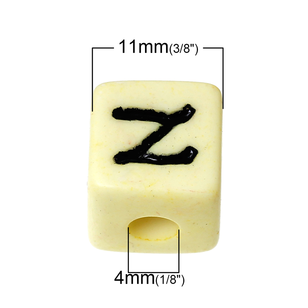 Mixed Acrylic Alphabet/Letter Pattern Cube Sapcer Beads