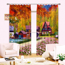 Nature photo digital printed polyester ready made curtain