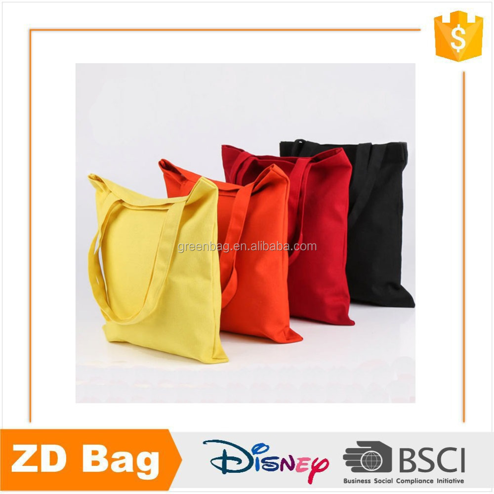 Classic design standard size cotton canvas tote bag for wholesale