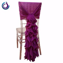 Party Purple Curly Wedding Chiffon Decoration cheap wedding chair sashes