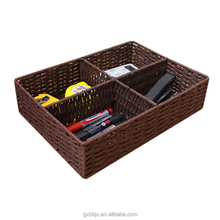Wholesale rectangle metal frame handmade paper rope dresser drawer organizer cube basket basket with 4 compartments for storage