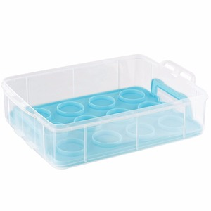 Snap and Stack Blue 3 Tier Cupcake Holder & Cake Carrier Container - Store up to 36 Cupcakes or 3 Large Cakes