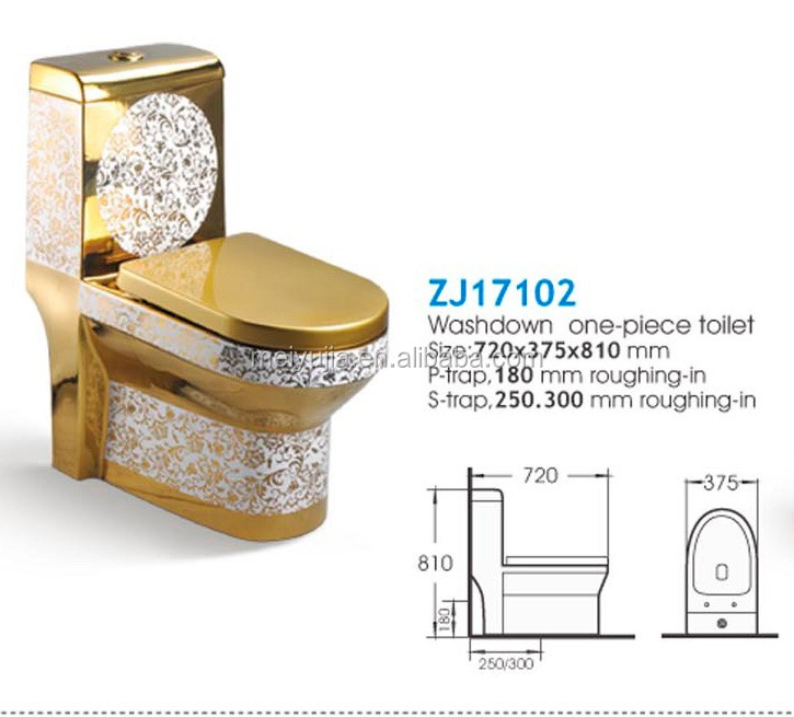 ZJ17102R Luxury bathroom designs ceramic sanitary ware china gold color toilet prices