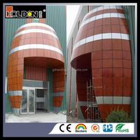 OEM Powder coated aluminum metal wood grain wall board panels sheet for cladding wall 600*600mm