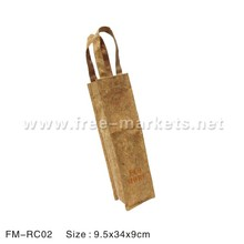ECO friendly Recycled Cork Leather wine whisky bottles bag for wine