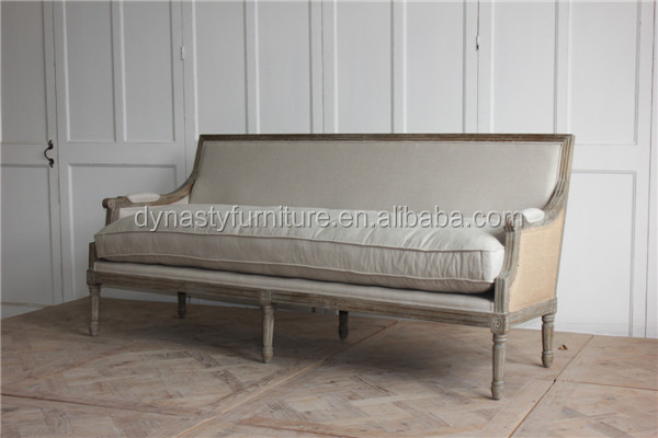 antique french style solid wood frame sofa for living room