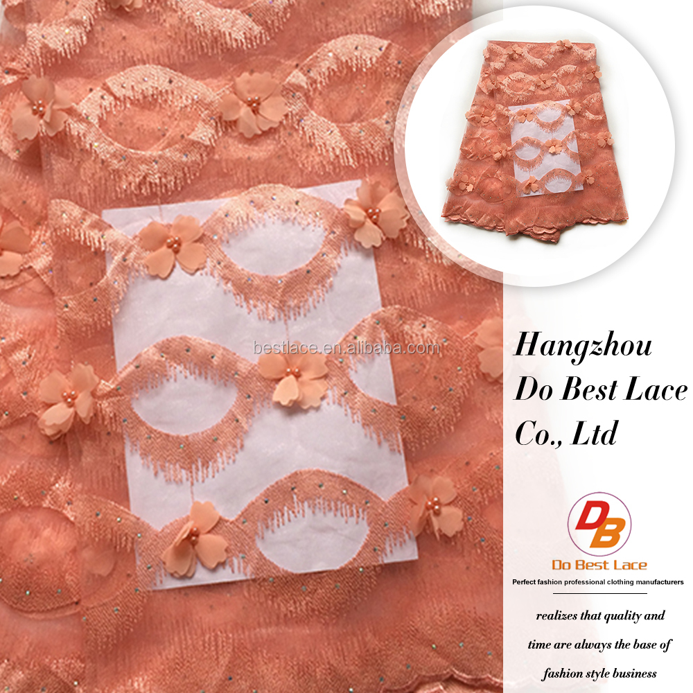 New fancy design african style orange chemical 3d embroidery net lace fabrics