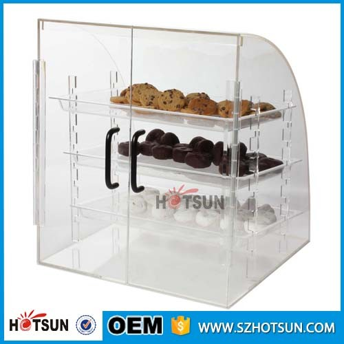 acrylic bread doughnuts showcase clear bakery display cabinet with hinged door