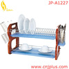 JP-A1227 Cheap Wooden Dish Drainer With Plastic Trays