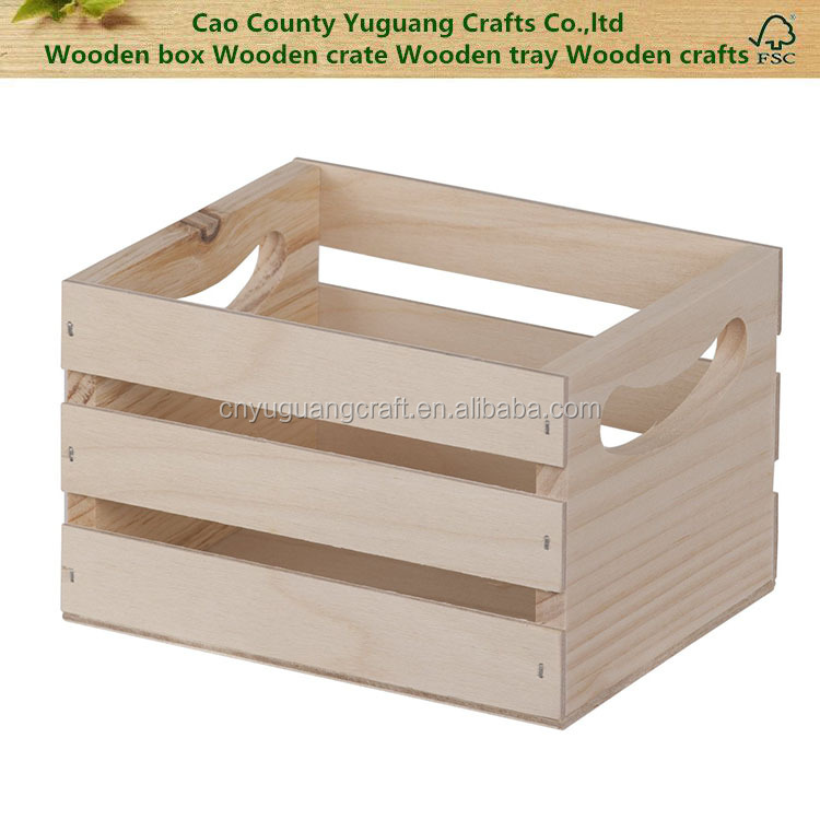 Custom Wooden handle crate wood vegetable crates for sale distressed wood crate wood storage box