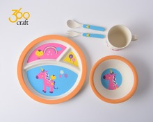 Reliable quality reusable dinnerware bio bamboo fiber plate sets for kids wholesale
