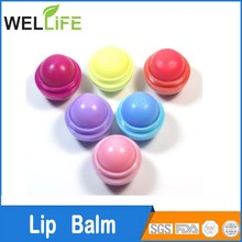 logo printed Moisture spf ball lip balm container with vitamin e