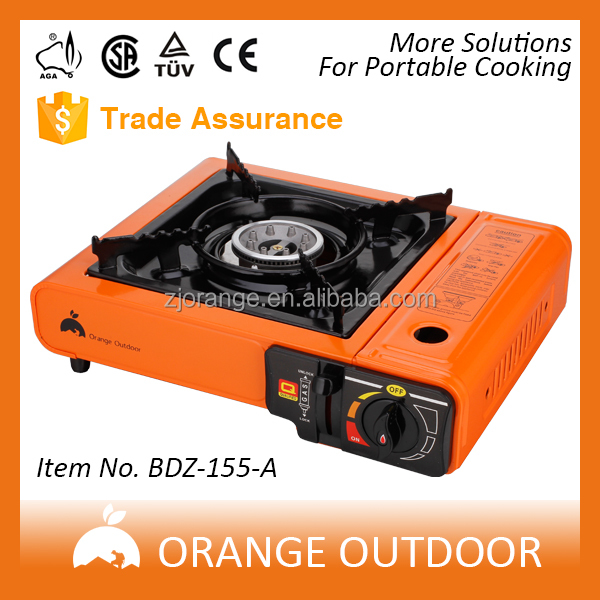 Orange Outdoor Piezoelectric butane Portable Gas Stove