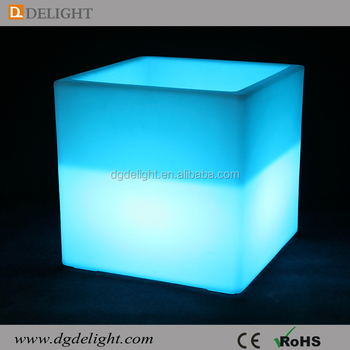 40cm Rechargeable Multi-color Remote Control LED square Ice Bucket/Glowing LED Cooler/Led Flower Pot